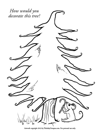 christmas tree holiday coloring page