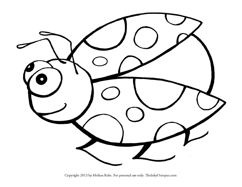Printable Ladybug Coloring Page - The Inky Octopus