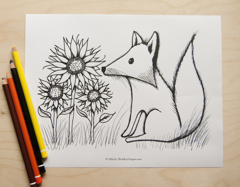 printable fox coloring page